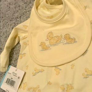 Infant. Little Me. Footed Onesie with bib. 6mos